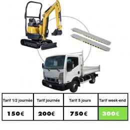Location ensemble camion pelle rampe 1T