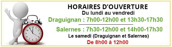 Heures d'ouverture Pmd location Draguignan et Salernes